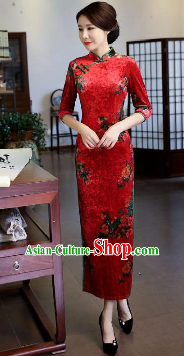 Top Grade Chinese National Costume Printing Red Velvet Qipao Dress Traditional Tang Suit Cheongsam for Women