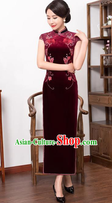 Top Grade Chinese National Costume Amaranth Pleuche Qipao Dress Traditional Lace Cheongsam for Women