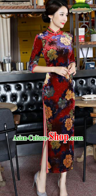 Top Grade Chinese National Costume Dark Red Velvet Qipao Dress Traditional Lace Cheongsam for Women