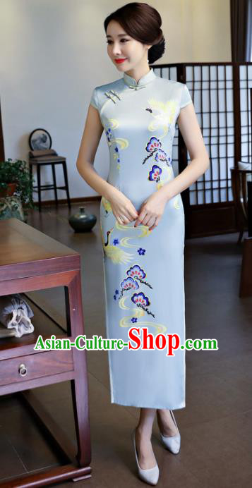 Chinese National Costume Handmade Printing Silk Qipao Dress Traditional Cheongsam for Women