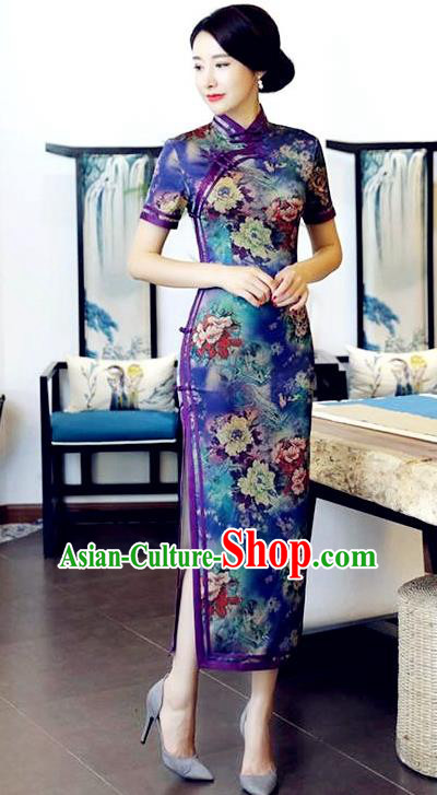 Chinese National Costume Handmade Tang Suit Qipao Dress Traditional Printing Peony Blue Cheongsam for Women
