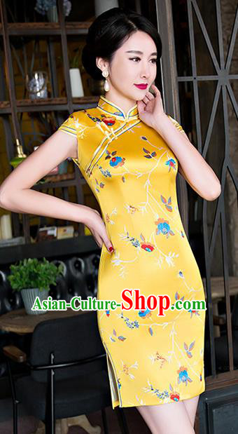 Chinese National Costume Tang Suit Yellow Silk Qipao Dress Traditional Printing Cheongsam for Women