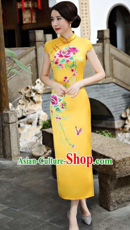 Chinese National Costume Tang Suit Silk Qipao Dress Traditional Printing Peony Yellow Cheongsam for Women