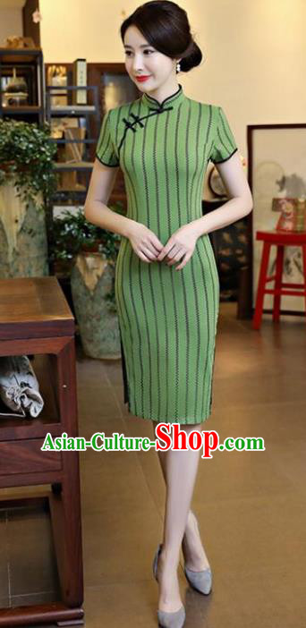 Chinese National Costume Tang Suit Qipao Dress Traditional Green Linen Cheongsam for Women