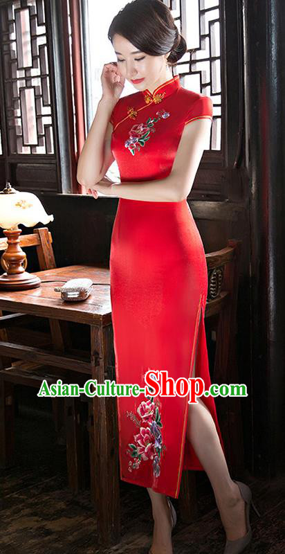 Chinese National Costume Handmade Tang Suit Red Satin Qipao Dress Traditional Long Cheongsam for Women