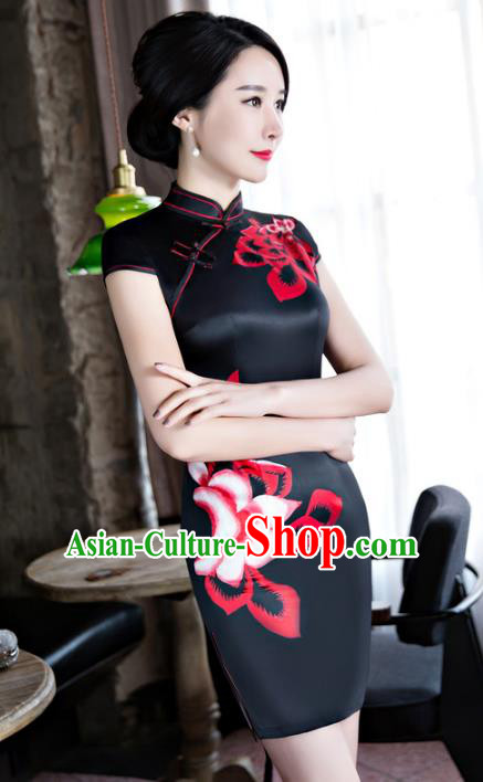 Chinese Top Grade Retro Black Silk Qipao Dress Traditional Republic of China Tang Suit Short Cheongsam for Women