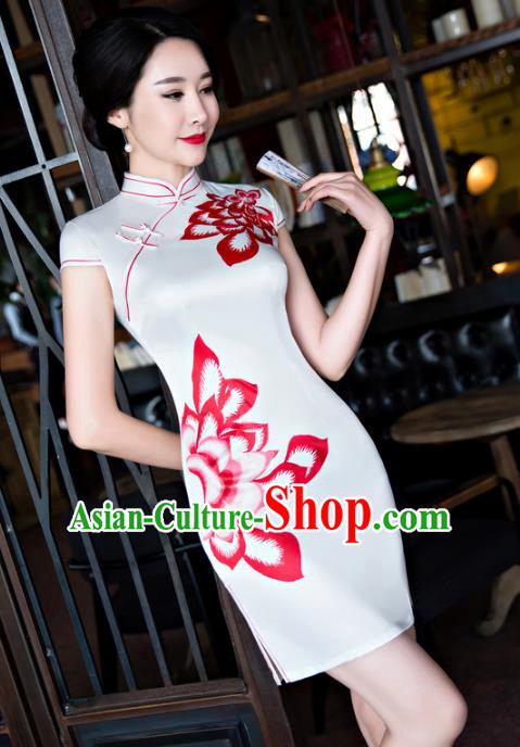 Chinese Top Grade Retro White Silk Qipao Dress Traditional Republic of China Tang Suit Short Cheongsam for Women
