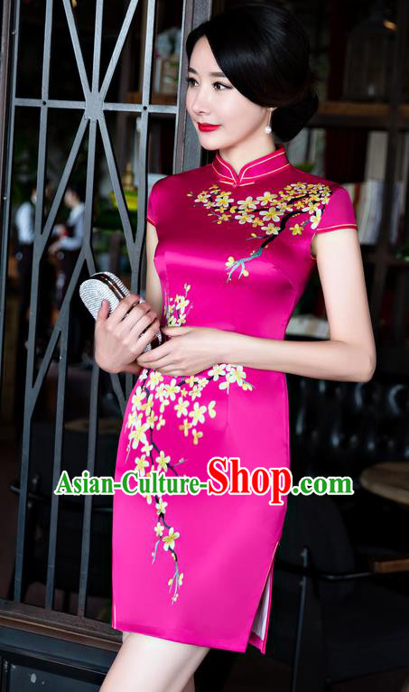 Chinese Top Grade Retro Rosy Silk Qipao Dress Traditional Republic of China Tang Suit Short Cheongsam for Women