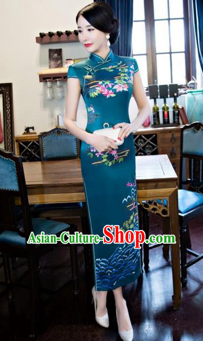 Chinese Top Grade Retro Printing Silk Qipao Dress Traditional Republic of China Tang Suit Green Cheongsam for Women