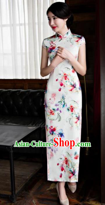 Chinese Top Grade Retro Qipao Dress Traditional Republic of China Tang Suit Printing Silk Cheongsam for Women