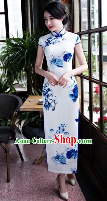 Chinese Top Grade Retro Qipao Dress Traditional Republic of China Tang Suit Printing Butterfly Silk Cheongsam for Women