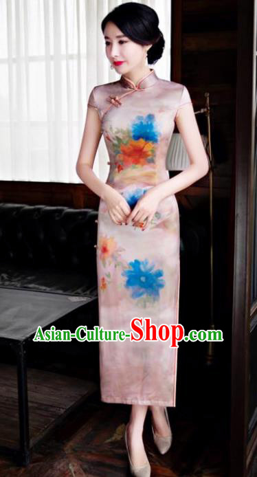 Chinese Top Grade Retro Qipao Dress Traditional Republic of China Tang Suit Pink Silk Cheongsam for Women