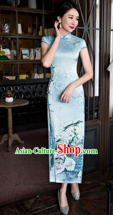 Chinese Top Grade Retro Blue Silk Qipao Dress Traditional Republic of China Tang Suit Cheongsam for Women