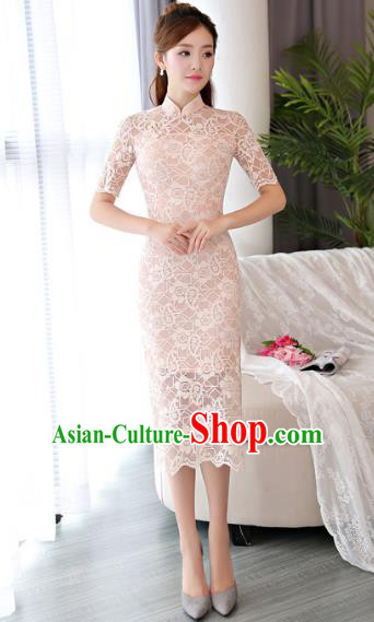 Chinese National Costume Tang Suit Pink Lace Qipao Dress Traditional Republic of China Cheongsam for Women