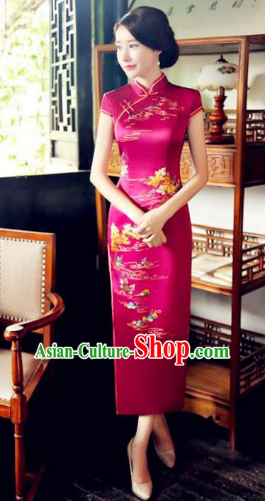 Chinese National Costume Tang Suit Qipao Dress Traditional Republic of China Rosy Silk Cheongsam for Women