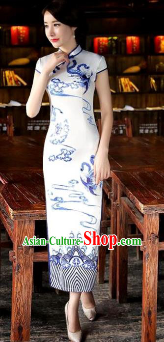 Chinese National Costume Tang Suit Qipao Dress Traditional Republic of China White Silk Cheongsam for Women