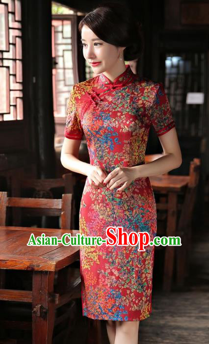 Chinese National Costume Tang Suit Qipao Dress Traditional Republic of China Red Cheongsam for Women
