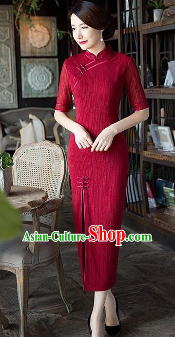 Chinese National Costume Tang Suit Retro Red Qipao Dress Traditional Republic of China Cheongsam for Women