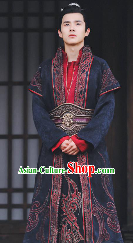 Chinese Ancient Nobility Childe Clothing Television Drama Nirvana in Fire Swordsman Xiao Pingjing Embroidered Replica Costume for Men