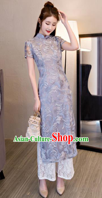 Chinese National Costume Retro Grey Lace Qipao Dress Traditional Republic of China Tang Suit Cheongsam for Women