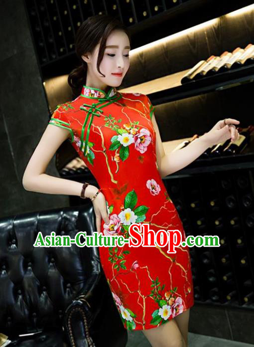 Chinese Top Grade Retro Printing Red Short Qipao Dress Traditional Republic of China Tang Suit Cheongsam for Women
