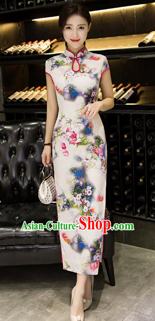 Chinese Top Grade Retro Printing Silk Qipao Dress Traditional Republic of China Tang Suit Cheongsam for Women