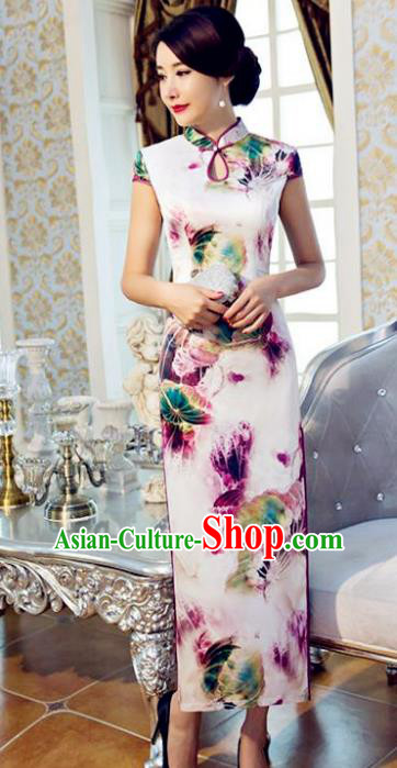 Chinese Top Grade Retro Printing Purple Lotus Silk Qipao Dress Traditional Republic of China Tang Suit Cheongsam for Women