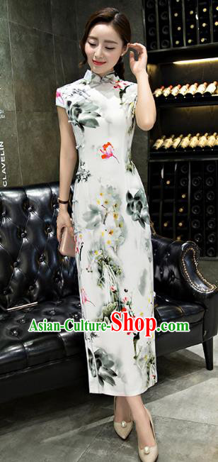 Chinese Top Grade Retro Ink Painting Lotus Silk Qipao Dress Traditional Republic of China Tang Suit Cheongsam for Women