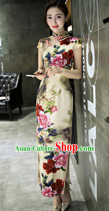 Chinese Top Grade Retro Printing Flowers Yellow Silk Qipao Dress Traditional Republic of China Tang Suit Cheongsam for Women