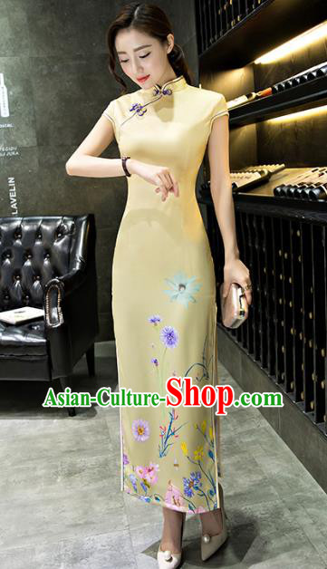 Chinese Top Grade Retro Printing Dandelion Yellow Silk Qipao Dress Traditional Republic of China Tang Suit Cheongsam for Women