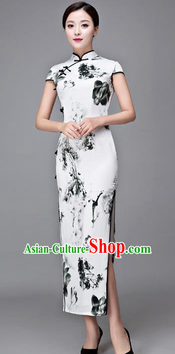 Chinese Top Grade Retro Ink Painting Silk Qipao Dress Traditional Republic of China Tang Suit Cheongsam for Women
