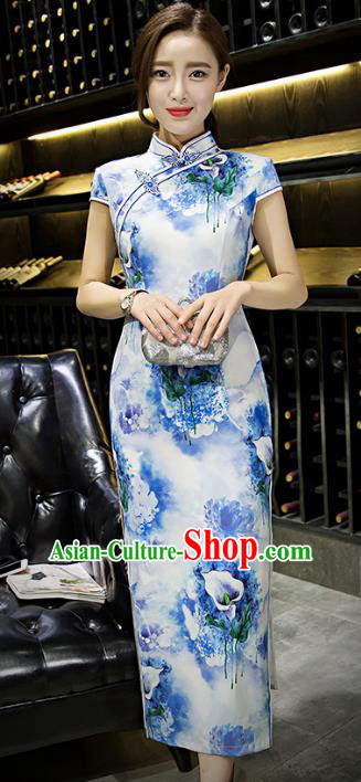 Chinese Top Grade Retro Printing Lily Flowers Blue Silk Qipao Dress Traditional Republic of China Tang Suit Cheongsam for Women