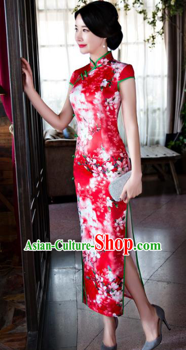 Chinese Top Grade Retro Red Silk Qipao Dress Traditional Republic of China Tang Suit Cheongsam for Women