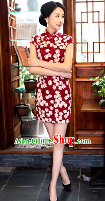 Chinese Top Grade Retro Red Short Qipao Dress Traditional Republic of China Tang Suit Cheongsam for Women