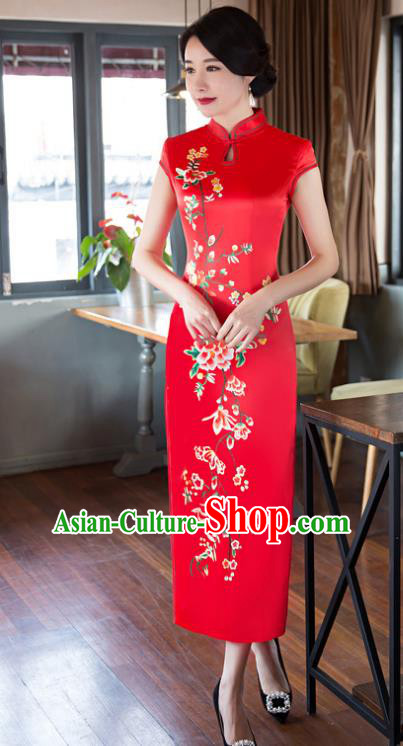 Top Grade Chinese Elegant Cheongsam Traditional China Tang Suit Red Silk Qipao Dress for Women