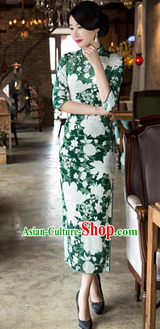 Top Grade Chinese Elegant Green Velvet Cheongsam Traditional China Tang Suit Qipao Dress for Women