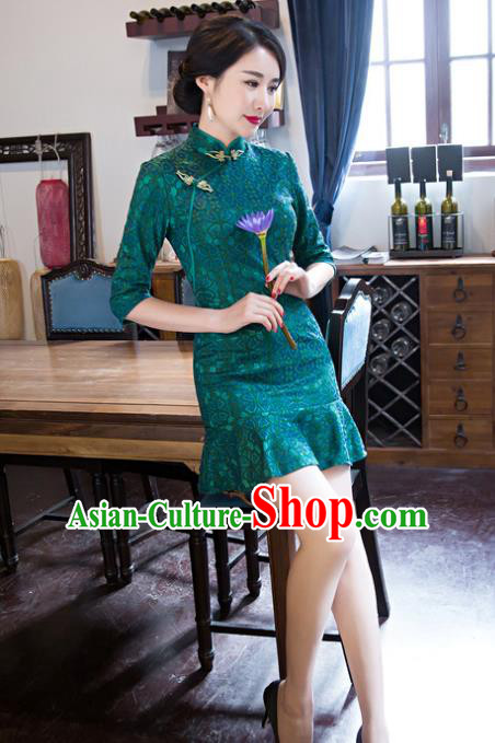 Top Grade Chinese Elegant Green Lace Short Cheongsam Traditional China Tang Suit Qipao Dress for Women