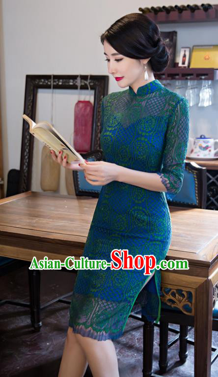 Top Grade Chinese Elegant Short Cheongsam Traditional China Tang Suit Green Lace Qipao Dress for Women