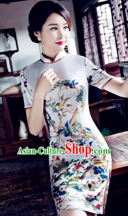 Chinese Top Grade Elegant Cheongsam Traditional Republic of China Tang Suit White Qipao Dress for Women