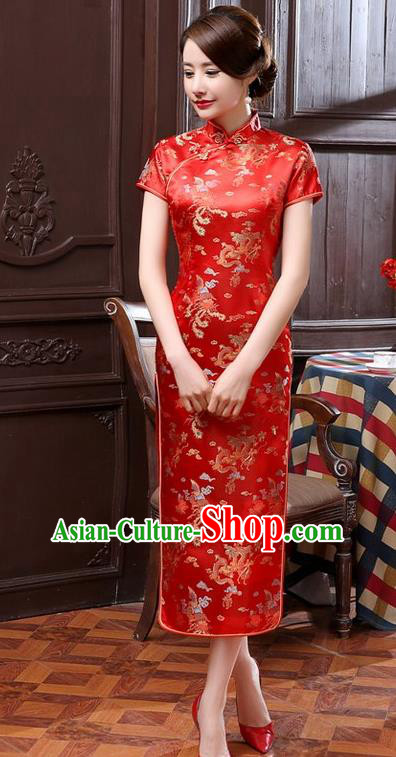 Traditional Chinese Elegant Phoenix Cheongsam China Tang Suit Red Brocade Qipao Dress for Women