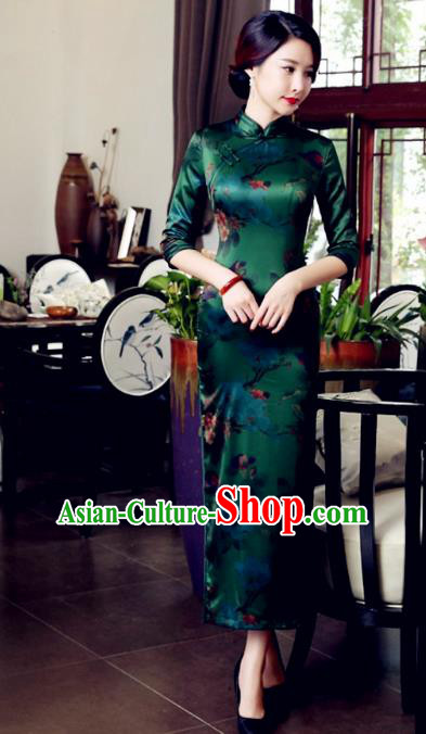 Traditional Chinese Elegant Printing Green Watered Gauze Cheongsam China Tang Suit Qipao Dress for Women