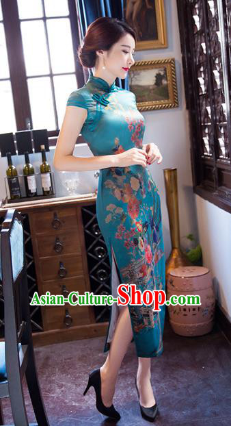 Chinese Traditional Costume Elegant Printing Green Cheongsam China Tang Suit Qipao Dress for Women