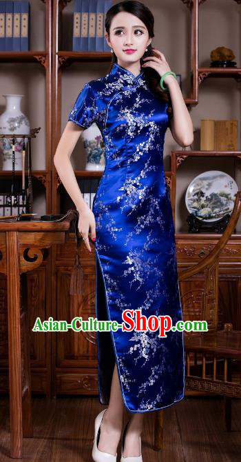 Chinese Traditional Costume Graceful Plum Blossom Cheongsam China Tang Suit Blue Brocade Qipao Dress for Women