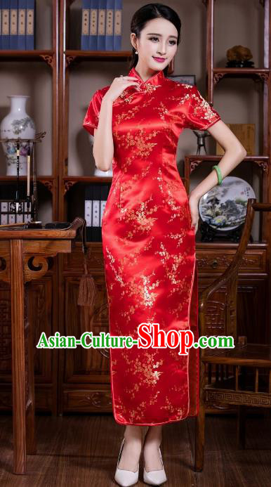 Chinese Traditional Costume Graceful Plum Blossom Cheongsam China Tang Suit Red Brocade Qipao Dress for Women