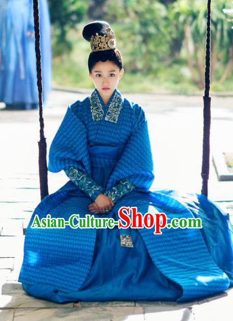 Chinese Ancient Northern and Southern Dynasties Princess Shanyin Embroidered Replica Costumes for Women