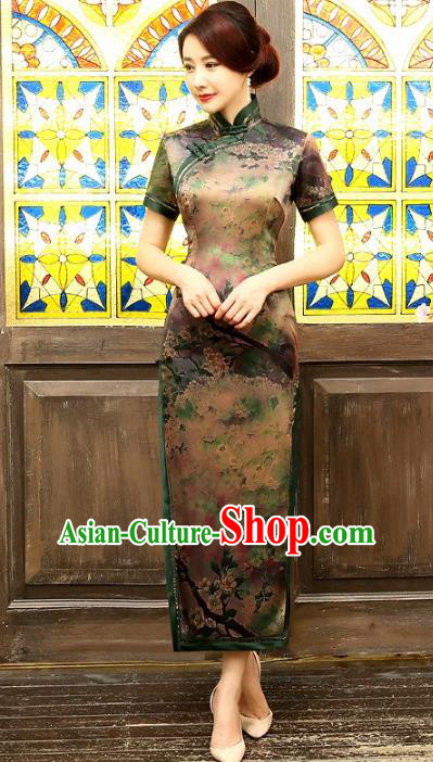 Chinese Traditional Costume Printing Plum Blossom Cheongsam China Tang Suit Silk Qipao Dress for Women