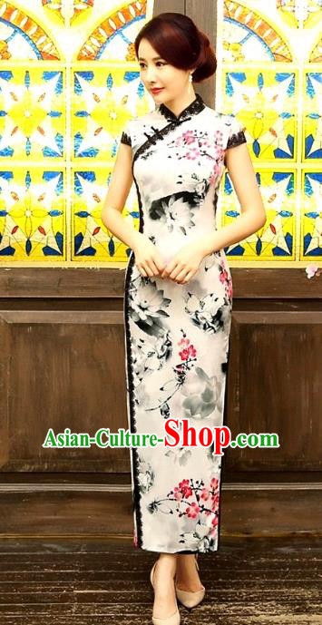 Chinese Traditional Costume Ink Painting Lotus Cheongsam China Tang Suit Silk Qipao Dress for Women