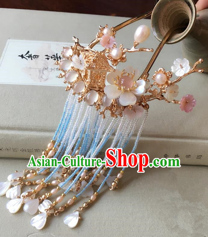 Traditional Handmade Chinese Ancient Classical Hair Accessories Hairpins Tassel Step Shake for Women