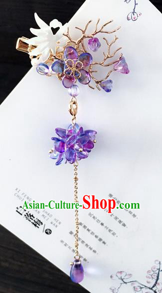 Traditional Handmade Chinese Ancient Classical Hair Accessories Hairpins Purple Crystal Hair Stick for Women