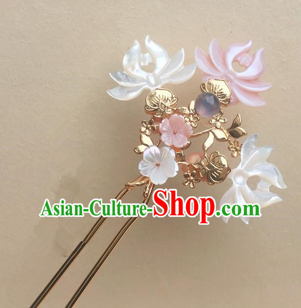 Traditional Handmade Chinese Ancient Classical Hair Accessories Pink Shell Lotus Hair Clip Hairpins for Women
